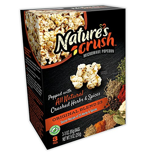 Nature's Crush Natural Microwave Popcorn, 23 Herbs Blend - Original Mix of 23 Seasonings, Gourmet Crushed Herbs and Spices (1 box) ()