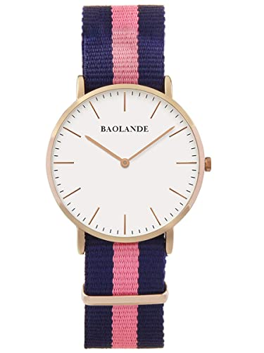 Alienwork Quarz Armbanduhr elegant Uhr Damen Uhren modisch Zeitloses Design Nylon rose gold blau U04...