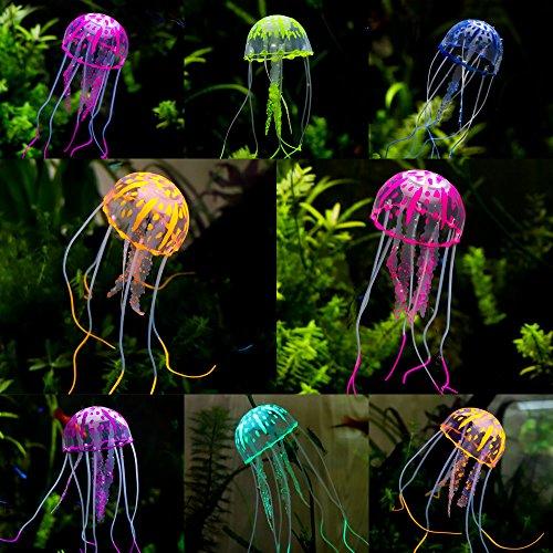 (Holicolor 8pcs Glowing Jellyfish Ornament Artificial Aquarium Decoration for Fish Tank)