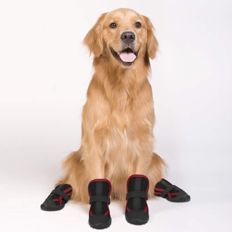Scarpe Antiscivolo per Cani e Animali Domestici con Disegno a Fibbia Adesiva in Nylon per Arrampicata o Lunghe Camminate Hengu Stivali e Protezione per Zampe Cani