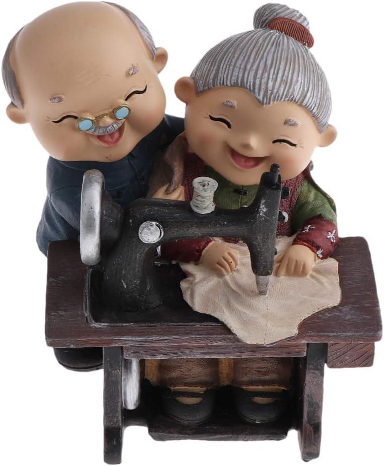 joyMerit Aniversario Creativo Regalos De Boda Resina Amante Pareja De Ancianos Figuras Vejez Vida Feliz Decoración para Dormitorio / Sala De Estar - Máquina de Coser