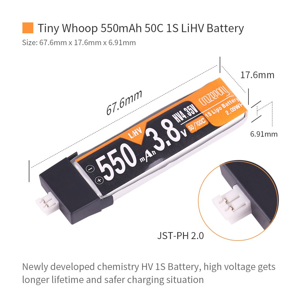 4pcs 550mAh HV 3 8V 1S LiPo Battery 50C JST-PH 2 0 PowerWhoop mCPX  Connector Rechargeable 1S LiPo Battery for Inductrix FPV Plus Tiny 7 Tiny  Whoop FPV