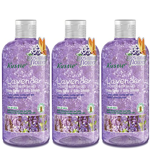 - Lavender Flower Petals Body Wash - Shower and Bath Gel - Handpicked Natural Flower Petals - Lavender Essential Oil - Deep Sleep and Silky Smooth - Paraben Free - For All Skin (3 x 380ml /12.8 Oz)