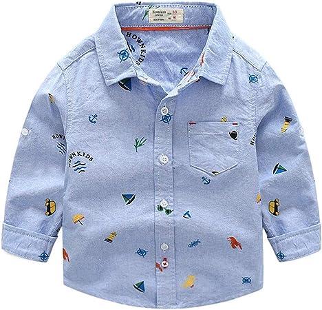 Weentop Camisa Oxford de Manga Larga con Estampado sólido con Botones de Oxford Ropa para niños pequeños niños (Color : Azul, tamaño : 130): Amazon.es: Hogar
