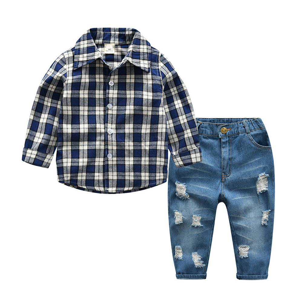 Motteecity Fashion Boys Grid Style Long Sleeve Casual Tshirt and Ripped Jeans