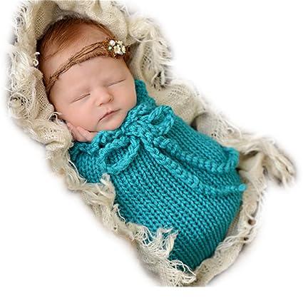 Hecho a mano bebé recién nacido bebé niña niño ganchillo saco de dormir fotografía Props ropa
