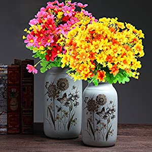 Turelifes 4pcs Artificial Flowers Bouquets Fake Mini Daisy Flower 7 Branches 28 Heads Silk Floral for Office Home Wedding Decoration (Orange) 3