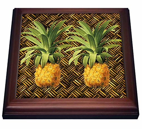 Pineapple Tile (3dRose trv_220881_1 A Pair of Juicy Tropical Pineapples Botanical Illustration Trivet with Ceramic Tile, 8