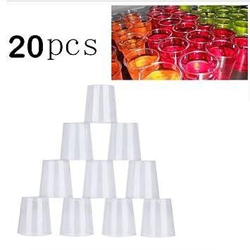 FAVOLOOK Vasos de plástico Duro, 20 Unidades, 30 ML, Desechables, Transparentes, para Fiestas, Vasos Esenciales (Transparente): Amazon.es: Hogar
