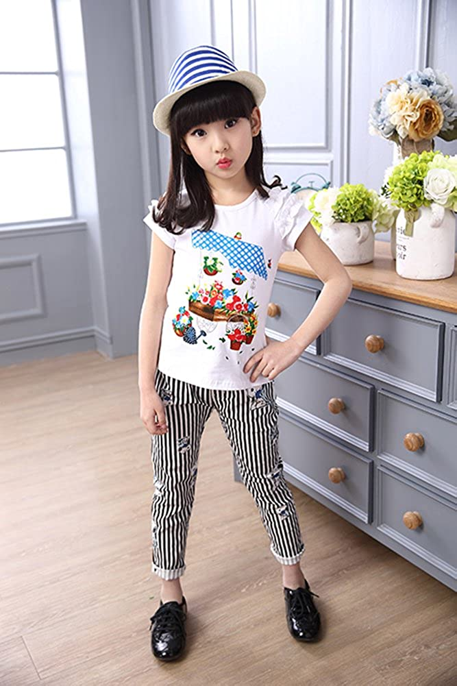 BoRaThing Summer girls cotton 2 Piece Suit
