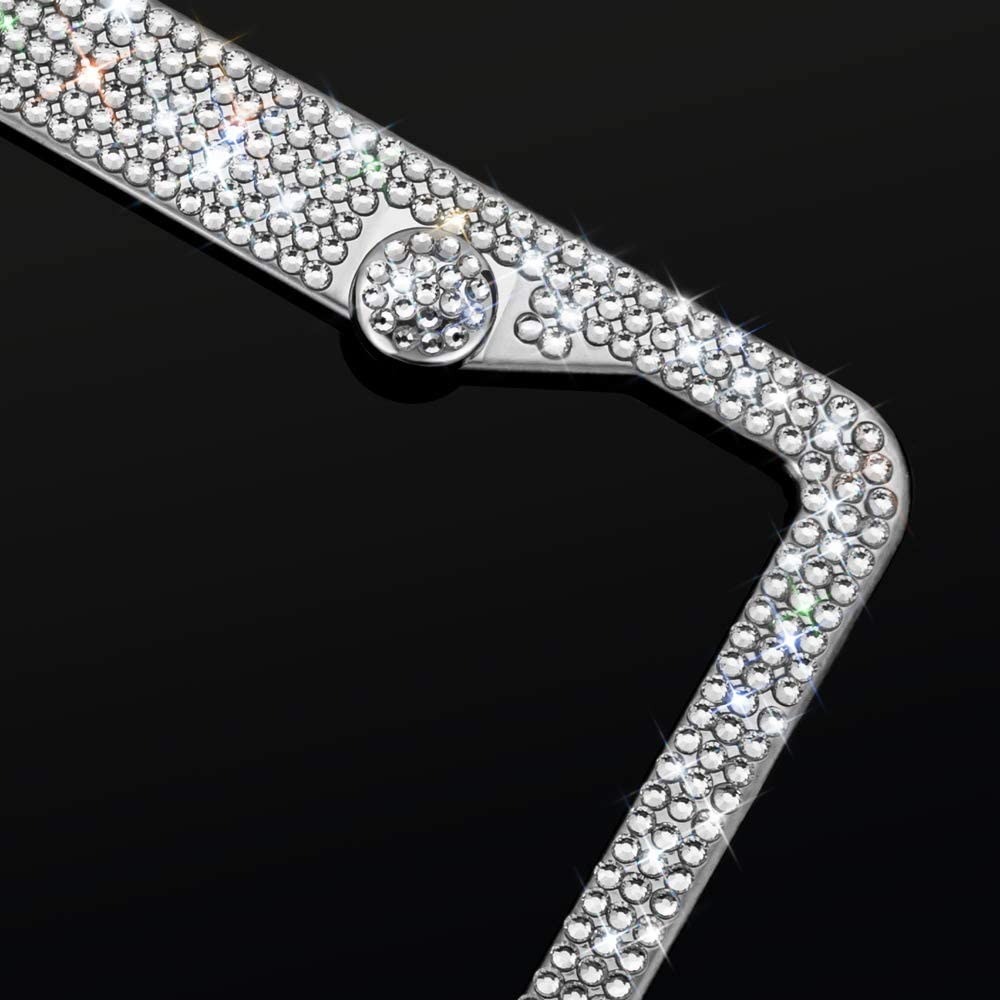 Bling License Plate Frame For Women Over 1000 pcs 14 Facets bedazzled Clear Glass Diamond Rhinestone Crystals w// Free glitter White Diamond+GiftBox(2Pcs) Sparkly Stainless Steel License Plate Frames