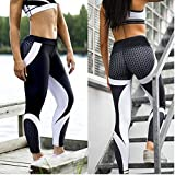 Women's Mesh Workout Sport Pants Running Fitness Sweat Shaper Vest Yoga Leggings #S (US Size 4-6) #Black+White