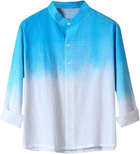 NISOWE - Camisa Informal de algodón Degradado de Colores para Colgar, Transpirable, Fina de Moda para Hombres de Verano Azul Celeste XL: Amazon.es: Ropa y accesorios
