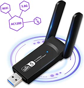 1200Mbps WiFi Adapter, Aigital USB 3.0 Wireless Network Adapter Dual Band 5GHz/2.4GHz WiFi Dongle with 5dBi Antennas for PC/Desktop Computer/Laptop, Supports Win 7/8/8.1/10/Vista/XP Mac OS 10.9~10.15