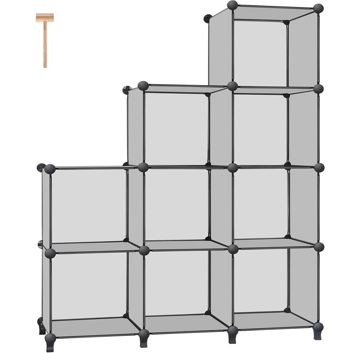 TomCare Cube Storage 9-Cube Bookshelf Storage Shelves Cube Organizer Closet Organizer Shelving Plastic Book Shelf Bookcase DIY Closet Cabinet Organizers Shelves for Bedroom Office Living Room, Grey