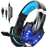 Gaming Headset für PS4 PC Xbox one, Surround Sound Gaming kopfhörer mit USB kabel für LED, Stereo Sound Over Ear Kopfhörer mit Mikrofon G9000, Noise Cancelling, Sport Performance Ohrpolster, Lautstärkeregelung Schwarz Blau