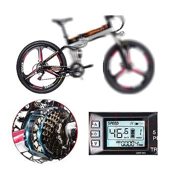 ZPAO Repuestos para Bicicleta eléctrica, llanta magnesio Negro Trasera, Motor, piñones, Controlador, Pantalla LCD, Sensor y Conector de batería (15): ...