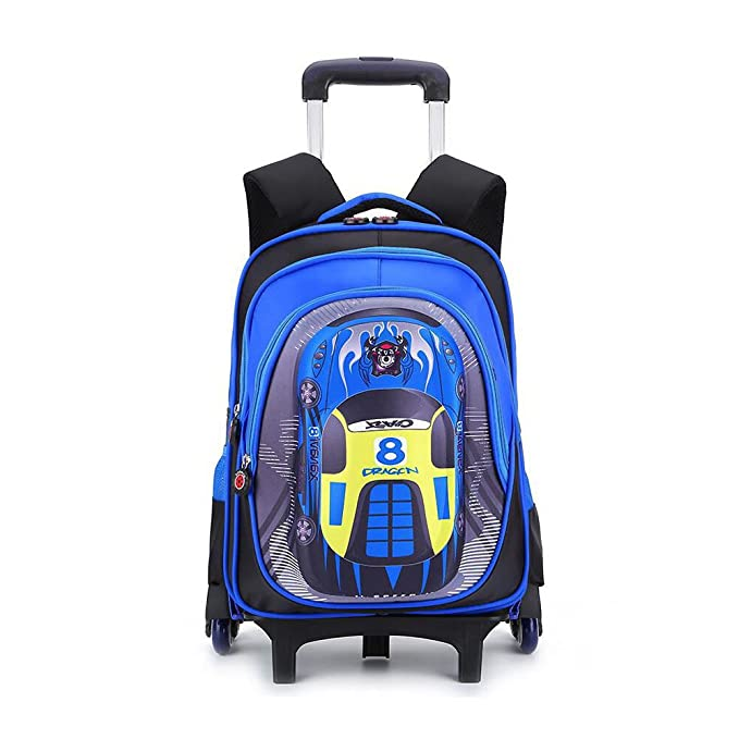 YUB Car School Bag Drawbars Trolley Bag Backpack with Wheels Rolling  Backpacks for School Kids Waterproof 50a1ad4c72a43