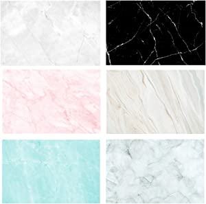 RENIAN Flat Lay Marble Backdrops Set 3pcs 34x22inches/56x86cm Food Photography Photoshoot Background Double Sided Marble for Photo Studio Jewelry Tabletop Blogger Pictures Props, 8 Patterns
