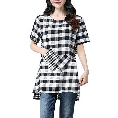 567422bdc0a 2019 Summer Women Cotton Linen Plaid T-Shirt Fashion Patchwork Loose Plus  Size Casual Comfortable