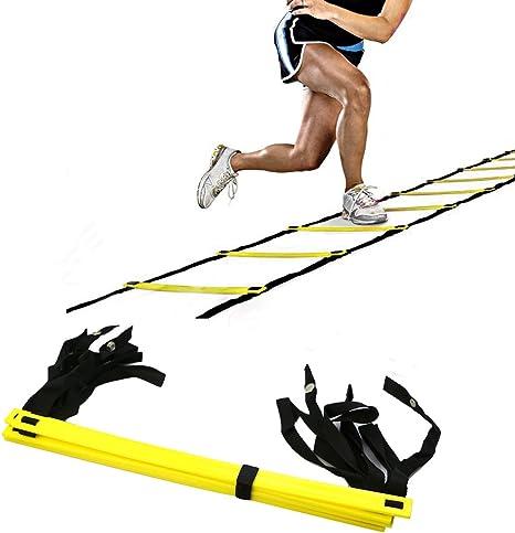 AIQI - Escalera para mejorar velocidad y agilidad, texturizada, con bolsa de transporte de color negro, 10FT 5-Rung: Amazon.es: Deportes y aire libre