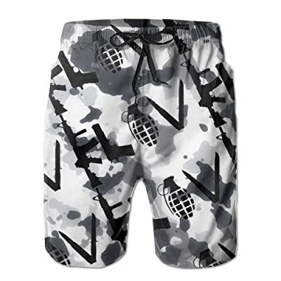 Ncwi Wa Love Gun Camo Men Quick Dry Swim Trunks Fashion Swimwear Board Shorts Swimsuits