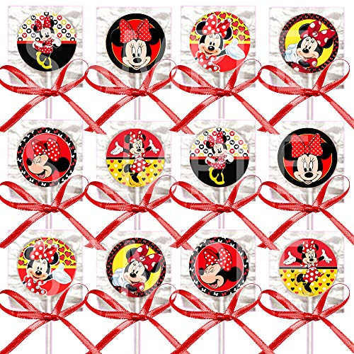 Minnie Mouse Lollipops, Red Black Yellow Party Favors Supplies Decorations Suckers w/ Red Bows Favors -12 pcs -