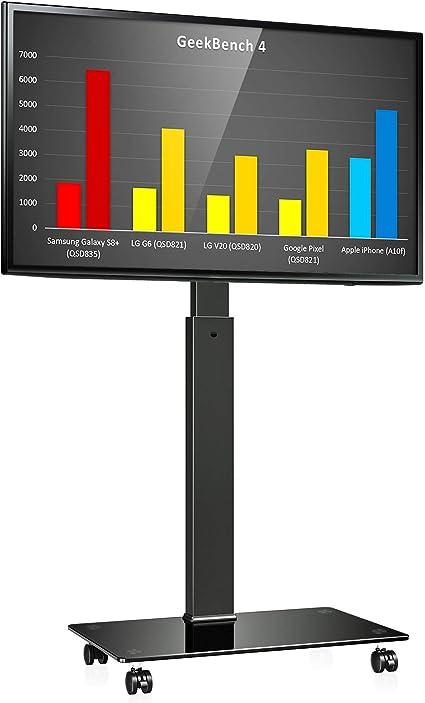 Max VESA 600x400 mm Regolabile in Altezza Gestione dei Cavi Portata Max 30kg FITUEYES Supporto Girevole per TV da 32 a 55 pollici Mobile Porta TV LCD LED con 1 Ripiano Girevole di 70 Gradi