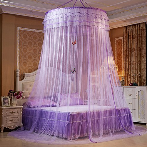 Per Enlarge Princess Dome Fantasy Netting Curtains with Butterfly Decoration Hanging 3Layers Round Lace Canopy Play Tent Mosquito Net for Double - Butterfly Tent Play