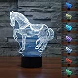 SUPERNIUDB 3D Animal Nightlights Horse Zebra 3D Night Light Table Desk Optical Illusion Lamps 7 Color Changing Lights