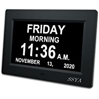[Newest Version] 7 Inch Day Clock - 12 Alarm Options, Level 5 Auto Dimmable Display,Extra Large Impaired Vision Digital…
