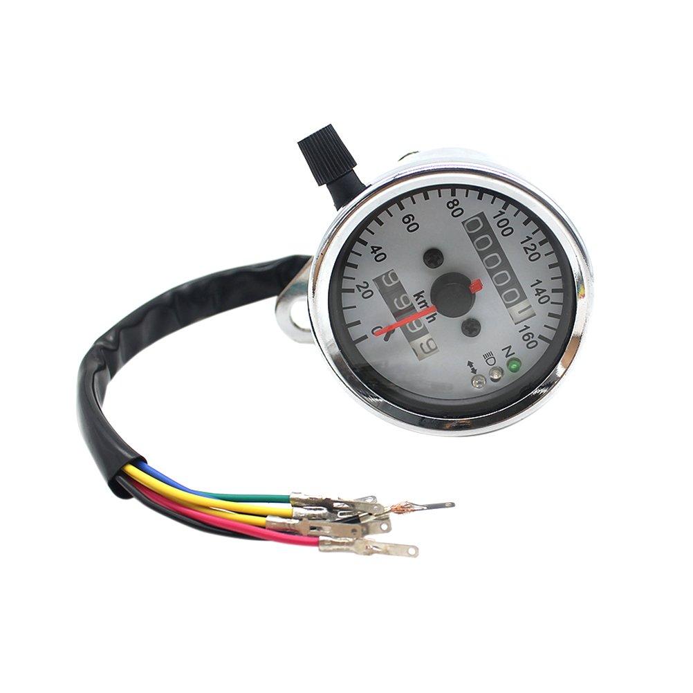 Pixnor Moto doppio contachilometri tachimetro velocità manometro con faro girando indicatori luminosi neutri
