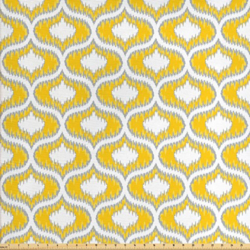 Ikat Fabric by the Yard by Ambesonne, Vintage Ethnic Camouflage Style Pattern Symmetrical Design in Summer Colors, Decorative Fabric for Upholstery and Home Accents, Grey Yellow - Camo Yellow Fabric