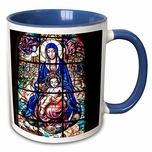 Jeronimos Monastery - 3dRose Danita Delimont - Windows - Stained glass window, Jeronimos Monastery, Lisbon, Portugal - 15oz Two-Tone Blue Mug (mug_227809_11)