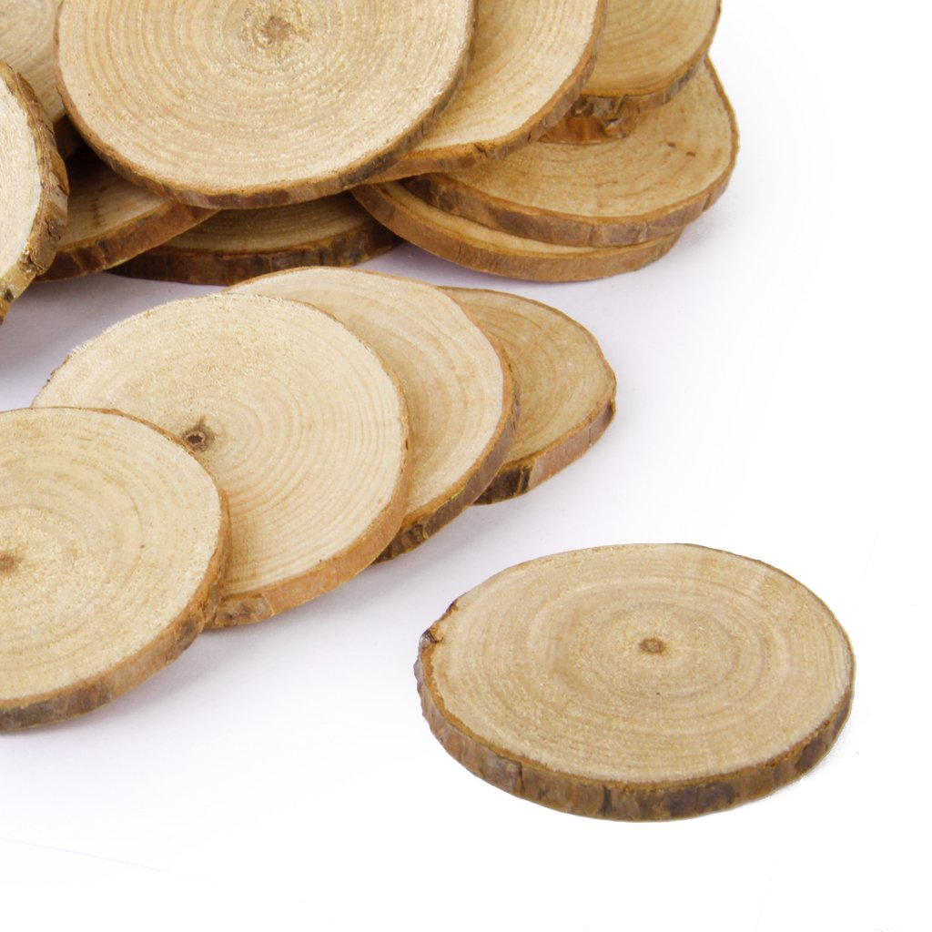 Jili Online 60 Pieces Natural Vintage Wood Wood Tree Pieces for Wedding Decoration Coasters 5-6cm by Jili Online (Image #7)