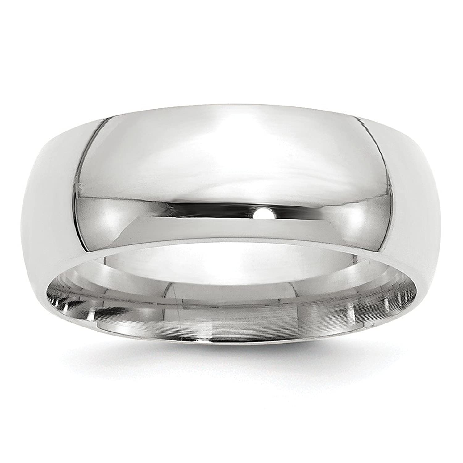 10k White Gold 8mm Standard Comfort Fit Band Ring Size 9.5