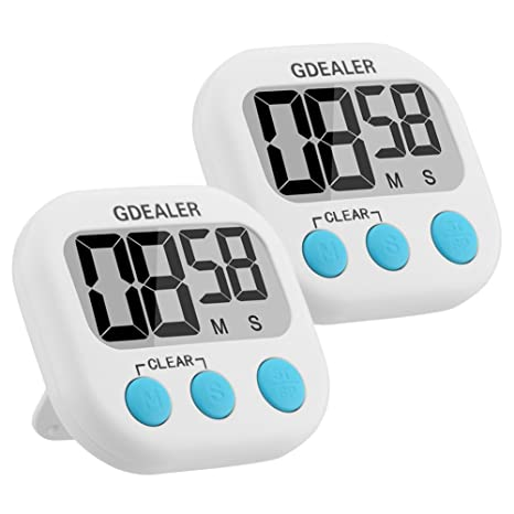 GDEALER Kitchen Timer 2 Pack Cooking Timer Digital Kitchen Timer with Alarm  Magnet Retractable Stand for Cooking Baking Grilling - Large LCD Display