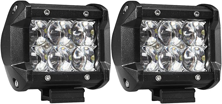 2 x 18W Off Road Driving Fog Work Light Spot Beam LED For Jeep 4WD Truck SUV ATV