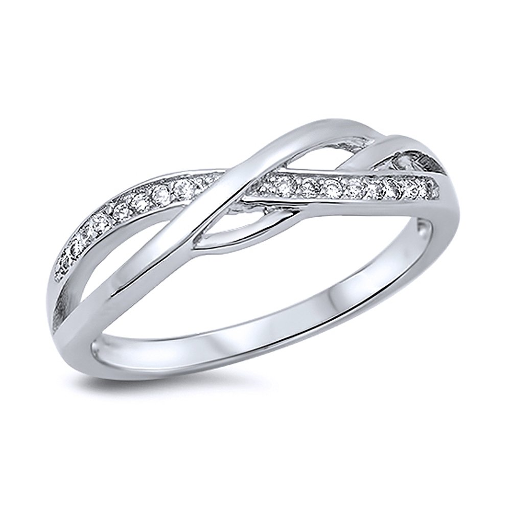 Sterling Silver Round White CZ Swirl Band Anniversary Ring 5MM (Size 4 to 14), 13