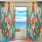 Cheap Vintage Watercolor Tulip Flowers Sheer Curtain for Living Room Bedroom,55 x 84 Inches Long,Colorful,Window Treatments,Rod Pocket,Polyester Fabric,Set of 2 Panels