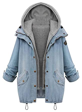 Suncolor8 Women S Plus Size Hooded 2 Pcs Outfits Rugged Wear Denim