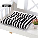 Uminilife Outdoor Dining Garden Patio Home Kitchen Office Chair Seat Striped Pads Cushions (black and white)