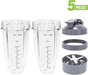 Nutribullet Cups and Blade Replacement, Deluxe Upgrade Kit Nutribullet 32 Oz Cups with Flip Top To-Go Lid and Screw-Off Lip Ring & Premium Extractor Blade Fits Nutribullet 600W/900W Models 5 Pieces