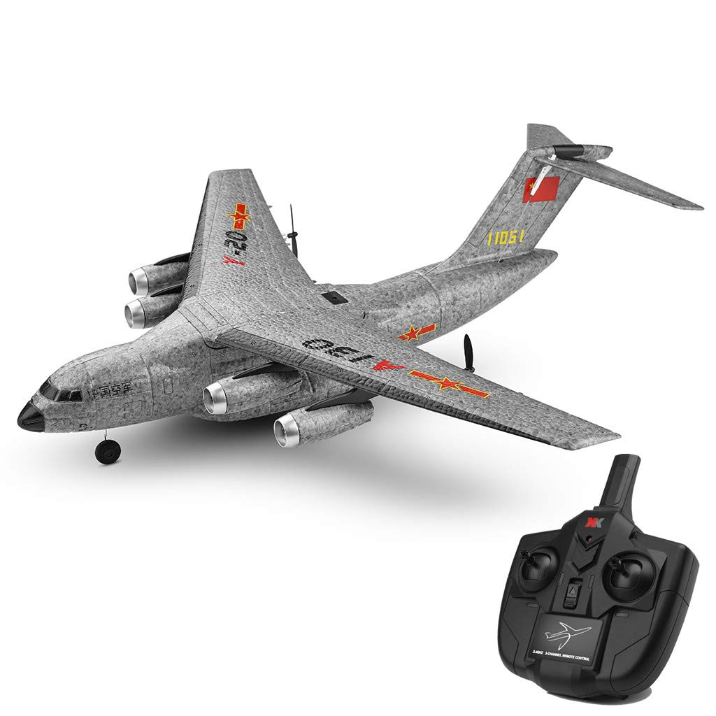 XK A130 Xian Y-20 Model Military Transport Aircraft 3CH design RTF Glider RC Airplane, EPP anti-crash material, 360° flip stunt skill, 200m Control distance, for beginners and professionals to choose