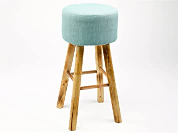 Simla sgabello alto legno naturale e tessuto turquoise: amazon.it