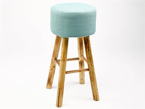 Simla sgabello alto legno naturale e tessuto turquoise amazon