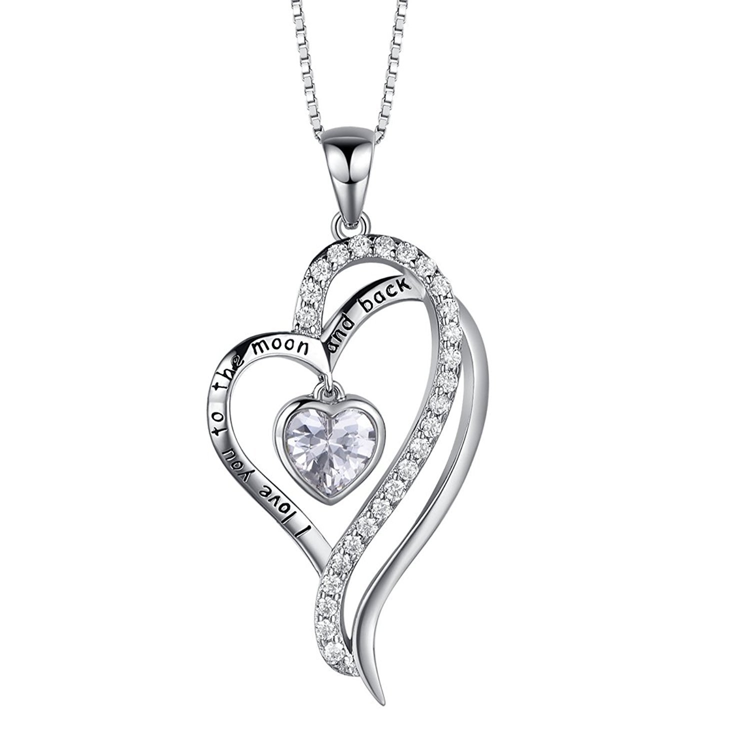 Shally 'I Love You To The Moon and Back' Girl Heart Pendant Necklace 18''