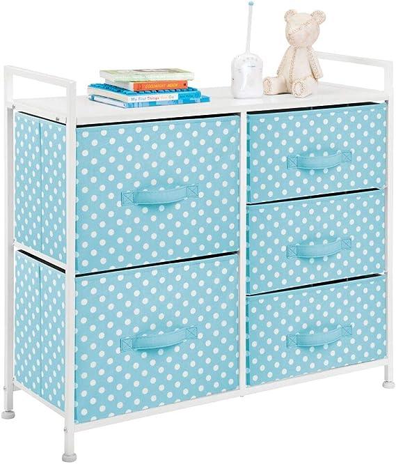 azul mDesign Caja organizadora para cuarto de beb/é Contenedor pl/ástico grande con pr/ácticas asas pa/ñales o peluches en pl/ástico libre de BPA Caja para juguetes