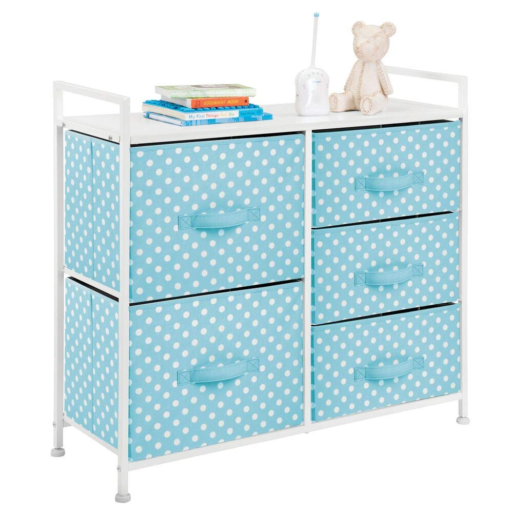 mDesign Wide Dresser 5 Drawers Storage Furniture - Wood Top, Easy Pull Fabric Bins - Organizer for Child/Kids Room or Nursery - Polka Dot Pattern, 32.6'' W - Turquoise Blue with White Dots