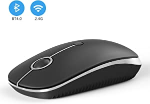 2.4GHz Wireless Bluetooth Mouse, Jelly Comb Dual Mode Slim Wireless Mouse with 2400 DPI Compatible for PC, Laptop, Mac, Android, Windows (Black and Silver)